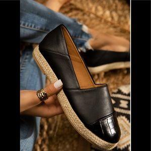 Qupid | Black Vegan Leather Espadrilles Flats